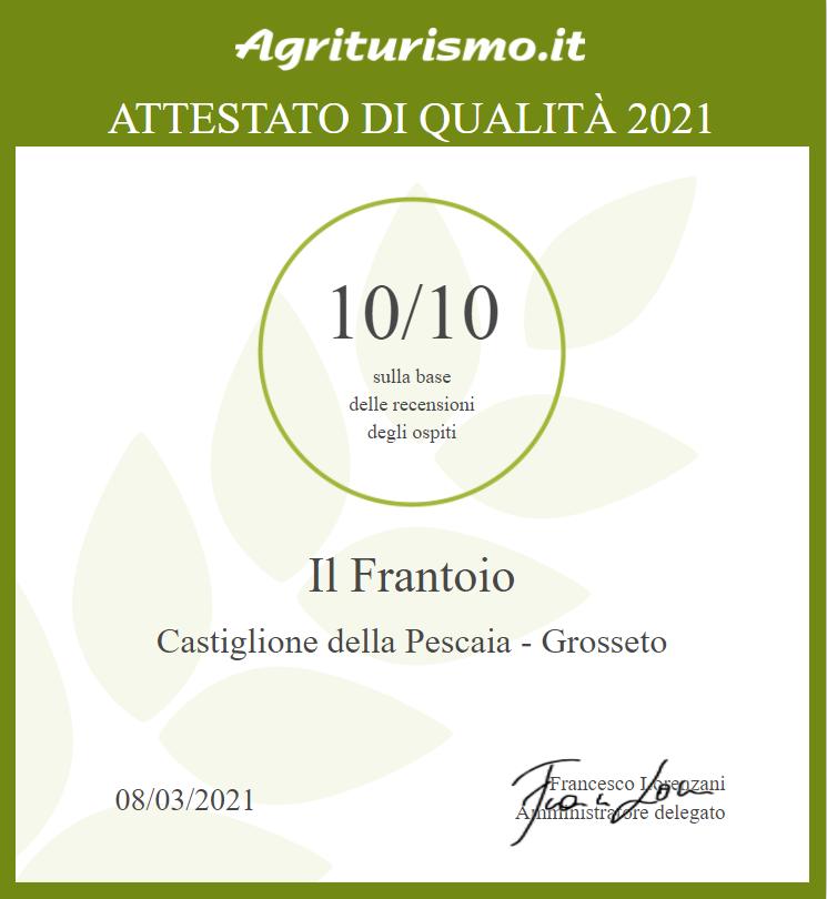 Certificato di Qualità Agriturismo Il Frantoio